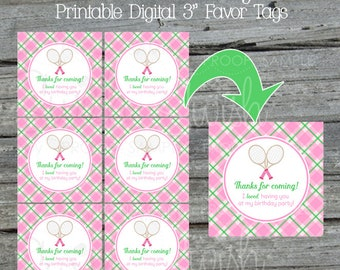 Tennis Birthday Party | Favor Tags | Gift Tags | Printable tennis party printables | Girls | Pink green argyle |  Instant Download