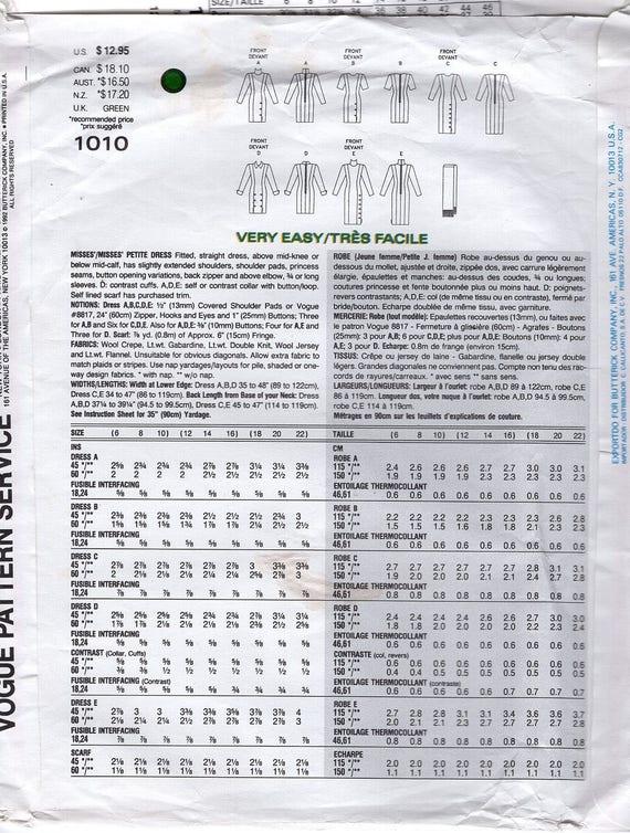 Nos libre nave coser patrones Vogue 1010 Vintage 1992 diseño básico ...
