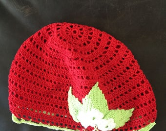 Baby girl hand knitted hat