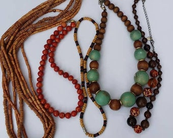 Vintage and modern lot of 5 wood beads necklaces