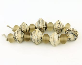 Lampwork Glass Bead Set (15), Organic Rustic Chunky Crystal Bicone, Ivory, Black, Beige