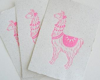 Pink Llama on Poo Paper, Letterpress Print, Handmade Recycled Paper with Lama Poo, Llama Print, Llama Art, Nursery Art, Letterpress Art