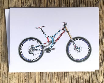 Cycling Card, Steve Peat, Santa Cruv V10, Mountain Bike Card, Bike Illustration
