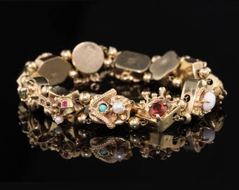 Vintage 14K Yellow Gold & Gemstone Slide Bracelet