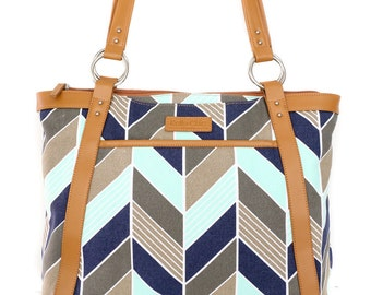 Women's Laptop Bag in Navy and Mint Herringbone Chevron - Laptop Bag, Laptop Tote, Canvas and Vegan Leather