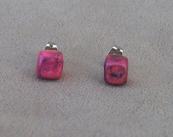 Polymer Clay Raku Cube Stud Earrings- Pink