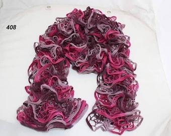 scarf ruffle Eden - handmade - nets, pink, purple and plum