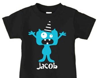 Personalized monster t-shirt, monster birthday t shirt for kids