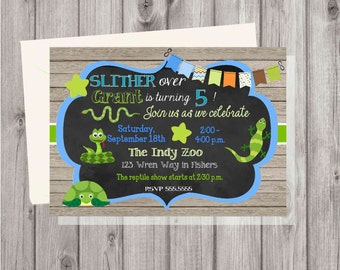DIGITAL Reptiles and Snakes Rustic Wood & Chalkboard Birthday Boy Party Invitation