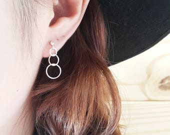 925 Sterling Silver Triple Circle Earring