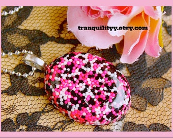 Candy Sprinkle Necklace ,Resin Oval Necklace  , Diva Sprinkle Mix ,Birthday Gift ,Handmade By: Tranquilityy