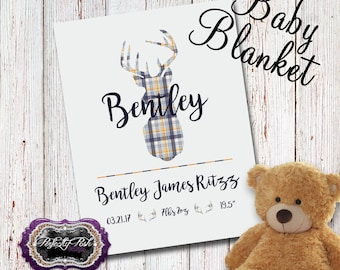 Personalized Deer Antler Baby Blanket Monogrammed with Name Baby Gift perfect for Swaddle and Receiving Blanket Inspired by Subway Art