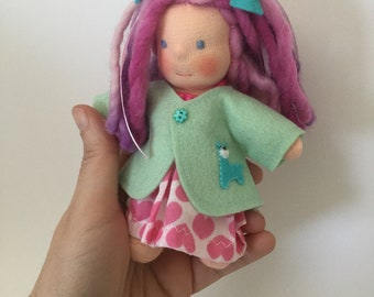 Five inches Waldorf doll with llama jacket, made of natural materials