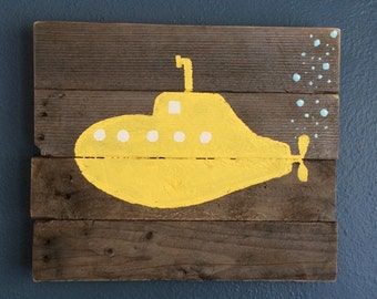 """Yellow Submarime. Painted on reclaimed wood. 16"""" x 13 1/2"""""""