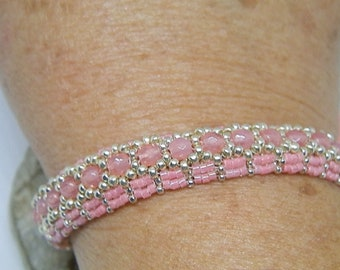 Pink and silver hand-woven bracelet