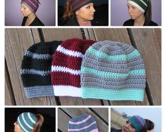 Messy Bun Hat/Ponytail Hat/Crochet Ponytail Hat/Bun Hat/Ponytail Hole Hat/Ponytail Beanie/Crochet Hat/Women's Hat/Teen Hat/Mom Hat/Gift
