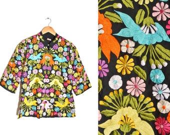 80s Floral Kimono Embroidered Jacket Multicolor Women's 10 Black Lotus Daisy