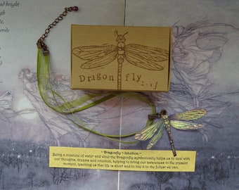 Shimmering Dragonfly Ribbon Necklace ~  Iridescent
