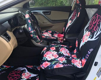 Floral Antlers Seat Covers For Vehicle Car Seat Covers Front and Back Seat Covers Monogrammed Personalized Car Accessories Deer Skull Flower
