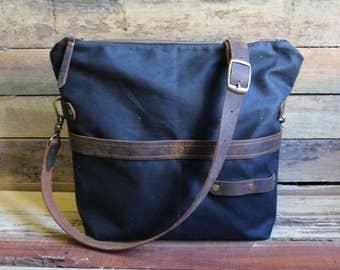 Waxed Canvas Tote, Zipper Top, Traveler Medium Purse, Crossbody Handbag, Crossbody Purse, Waxed Canvas purse