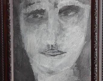 Man charcoal and acrylics on canvas