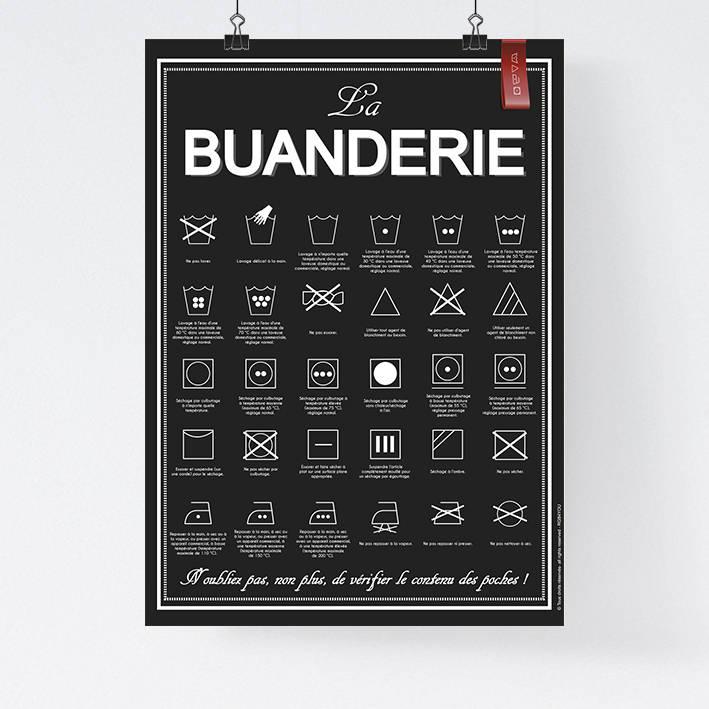 a3 affiche papier la buanderie lavage machine laver. Black Bedroom Furniture Sets. Home Design Ideas