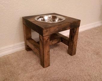 Dog Bowl Feeder - Farmhouse Style - Rustic Dog Bowl Stand - Raised Dog Bowl Feeder - Single Dog Bowl Feeder