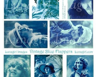BLUE FLAPPERS digital collage sheet, Vintage Photos, beautiful 1920s women girls, tinted postcards, printable images art ephemera DOWNLOAD