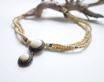 Kuchi Necklace Ethnic Necklace Bone Bead Necklace Boho Necklace Off White Beads Pendant Necklace Multistrand Necklace