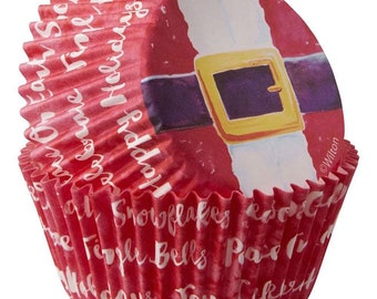Santa's Belt Wilton Standard Christmas Cupcake Liners Baking Cups Muffin Cups - Santa Cupcake Liners - Holiday Cupcake Liners