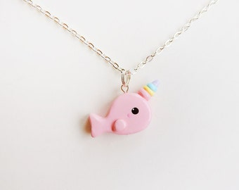 Rainbow Horn Pink Narwhal Necklace Kawaii Polymer Clay Jewelry