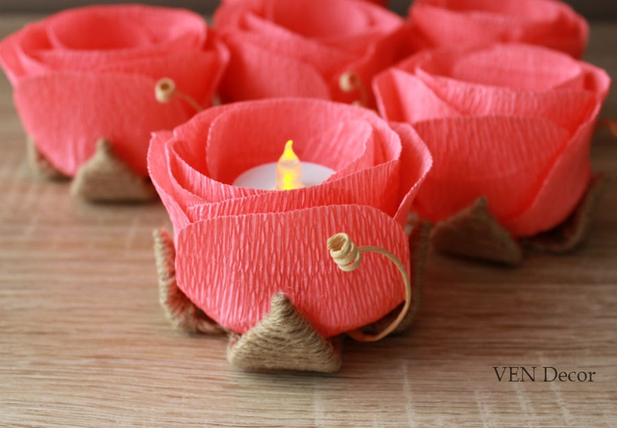 Rustic Wedding Decor 6 Coral Table Flowers