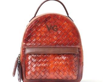 Leather Backpack  small Juice Heart