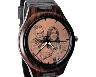 Wood Watches For Men, Engraved Leather Watch, Unique Gifts, Gifts for Him, Fathers Day Gift, Personalized  Mens Watch, Wood Watch For Him