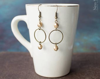 Minimalist dangle earrings Boho dangle earrings Antique brass Circle earrings bohemian Beaded hoop earrings Delicate earrings Boho jewelry