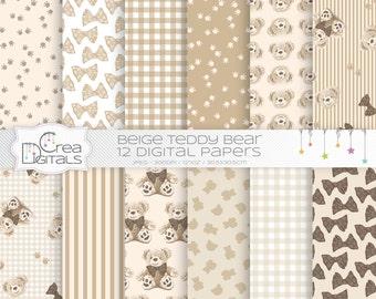 Teddy bear - 12 beige digital papers - INSTANT DOWNLOAD