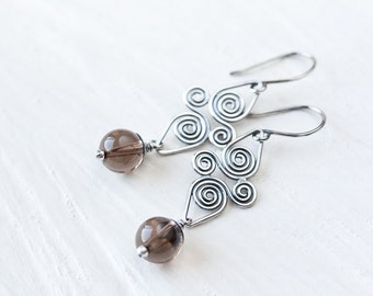 Smoky Quartz Earrings, oxidized 925 sterling silver earrings, Artisan handcrafted Celtic spiral earrings, long dangle