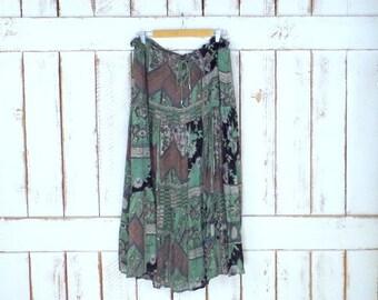 Vintage green tribal/floral  print sheer boho maxi skirt/long gauzy crinkle Indian gypsy festival skirt/drawstring waist skirt