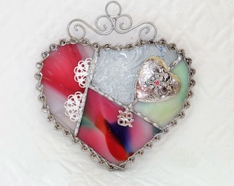 Rainbow Stained Glass Valentine Heart Suncatcher, Patchwork Heart, Stained Glass Suncatcher - Love