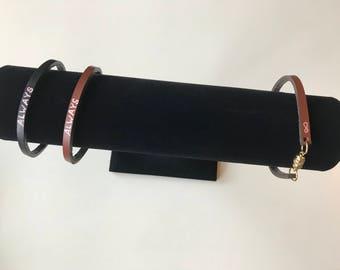Always - Classic Leather Quote Bracelet