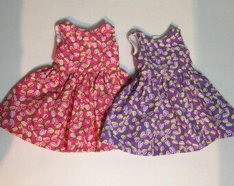 18 inch  Doll Dress,  Purple or Pink Easter Sundress With Dragonflies, American made