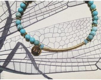 Oui Bracelet — mermaid native ocean, turquoise, agate, howlite, gold, wrist, arm party, boho layering nashville gypsy bride monogram