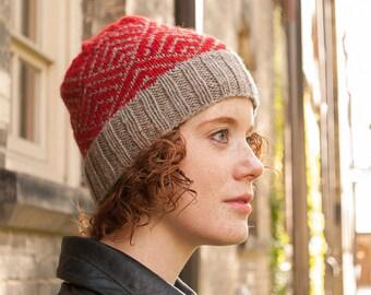 Winter hat for women, Knit wool beanie, Red winter hat, Knit Fair Isle hat, Knitted women's hat