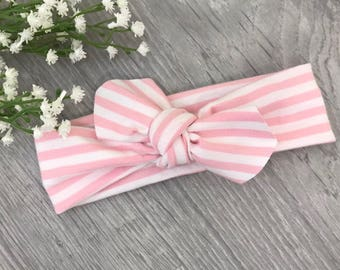 Pink Stripe Headband / Baby Headband / Newborn Headband / Baby Headbands / Toddler Headband / Infant Headband / Baby Headwrap / Baby Bows
