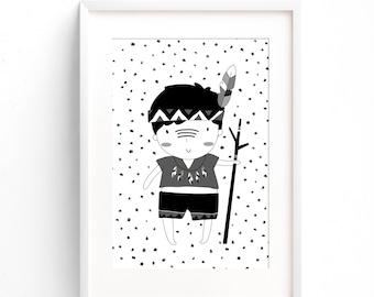 Boys Monochrome Tribal Nursery Print - Boys Bedroom Decor - Kids Room Wall Art - A4 A3 - Black & White - Tribal Nursery