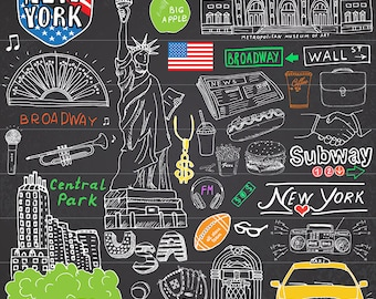 "39"" x 39"" New York USA Collage wall Art modern  Huge Canvas Print  broadway liberty taxi subway choose size"