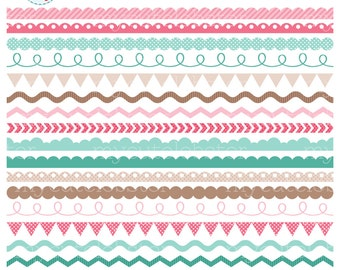 Girls Borders Clipart Set - clip art set of borders, scallop borders, digital border - personal use, small commercial use, instant download