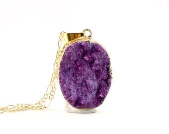Violet Druzy Necklace - Purple Druzy Natural Druzy Quartz Crystal - Rough Cut Rock Nugget Necklace OOAK - Bridesmaids Gift Idea - SDN40