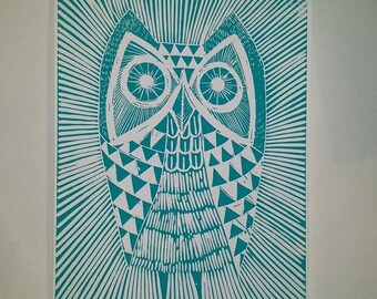 owl print. mid century/retro inspired 30 x 40cm