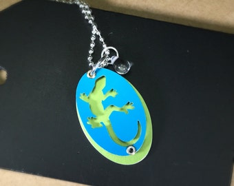 Gecko Necklace-Animal Lover's Gift-Gecko Silhouette Necklace-Blue/Green-Lizard